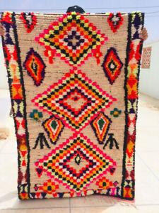 Vintage Moroccan Handmade Boujad rug Beni Rug Berber Antique Carpet 180 x 110 Cm