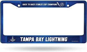 Tampa Bay Lightning 2021 Champions BLUE Metal License Plate Frame Tag Cover