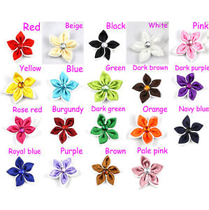 """5/100Pcs 2"""" Satin Ribbon Flowers w/Rhinestone Five-pointed star Appliques Sewing"""