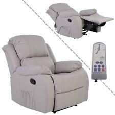 Fernsehsessel mit Vibrationsmassage Kunstleder hellgrau Heizung und Fernbedienun