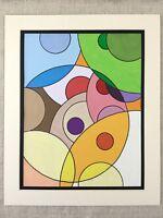 Abstract Pittura Originale Circles Luminoso Colorato Geometrico Art