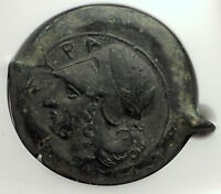 SYRACUSE Sicily 375BC LARGE Ancity Greek Litra Coin Athena Dolphins NGC i59087