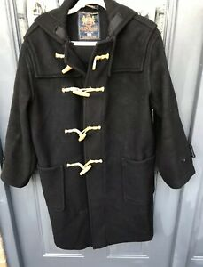 Damaged Untidy Genuine Gloverall Black Duffle Coat Adult XS