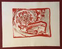 Peter Angermann, Der Verkehr, Farblithographie, 1990, handsigniert und datiert