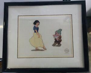 "Disney Cel Sericel Snow White Seven Dwarfs ""Snow White and Bashful"""