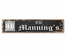 SPFN0402 The MANNING'S Family Name Street Chic Sign Home Decor Gift Ideas
