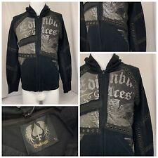 Salvage Hoodie Sweatshirt M Black Full Zip 100% Cotton Made USA NWT YGI R9-425CG