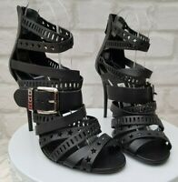 Authentic Balmain Caged Military Cut Out  Strappy Sandals Heels Shoes Pumps
