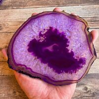 """Large Purple Agate Slice: Approx 6.25"""" Long, Quartz Crystal Stone Geode Mineral"""