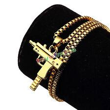 Supreme Uzi Machine Gun Gold Pendant Necklace Chain 18KT Plated Hip Hop Box Logo