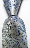 New Classic Paisley Silver Gray Blue JACQUARD WOVEN Silk Men's Tie Necktie