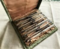 Set of 12 Antique Silver Plate Fruit Knives in Velvet Case J E Caldwell