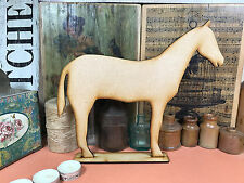 WOODEN RACE HORSE FREESTANDING SHAPE 27cm Stand Table Decoration Wood Blackboard