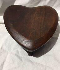 Vintage Wood Heart Shaped Trinket/Jewelry Box Raised 3 Footed Original Finish