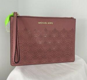 Michael Kors Wristlet XL Perforated Pink Leather Zip Top   B14