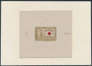 """ECUADOR #440P DIE PROOF ON INDIA ON CARD W/ CONTROL NO. """"RED CROSS"""" BS3568"""
