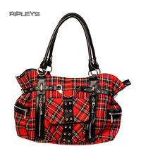 BANNED Clothing Punk Tartan grand sac sac à main handcuff rouge goth
