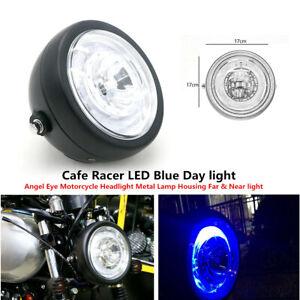 LED Day light Angel Eye Motorcycle Headlight Metal Lamp Housing Far &Near light