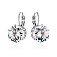 Exquisite Round Cut White Topaz Gemstone Silver Dangle Earrings Women Jewelry
