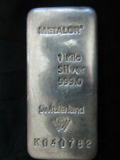 More details for 1 kilo metalor .999 fine silver bullion bar & with c.o.a   (1) free p & p!