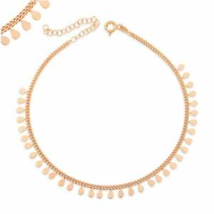 """18K Rose Gold Over Everyday Wear Dainty Boho Mini Coin Charm 9.5"""" Chain Anklet"""