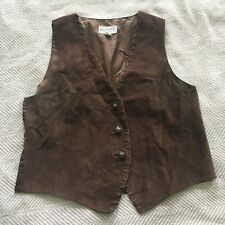 Arizona Jean Company LG Brown Suede Leather Front Vest Mod Hippy Cowgirl Grunge
