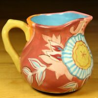 Tracy Porter Pottery Pitcher Syrup Creamer Colorful Flower Orange Blue Tangerine