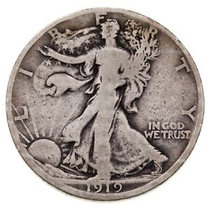 1919-D 50C Walking Liberty Half Dollar in VG Condition, Natural Color