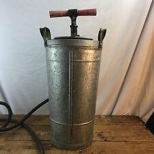 Vintage Large Galvanized Steel Pump Sprayer Fire ? Bug Bucket Wood Handle