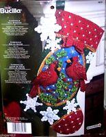 "Bucilla ""CARDINALS"" Birds Felt Christmas Stocking Kit Factory Direct 18"" OOP"