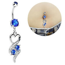 Women's Heart Rhinestone Dangle Belly Ring Body Piercing Navel Jewelry Flowery