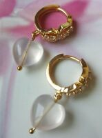 Elegant 18K Gold Plated Handmade Natural Pink Crystal Gemstone Earrings