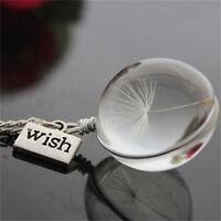 Wish collier en verre de pissenlit de perles en verre pendentif femmes