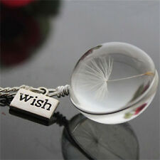 Wish Glass Necklace Dandelion Seed in Glass Pendant Long Necklace Women Gift HC