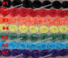 15color Floral shabby chiffon rose millinery sewing flower appliques lace trims