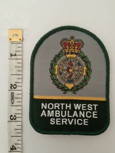 """3""""Ambulance Service North West Woven Vel Hook Backed Patch Badge"""