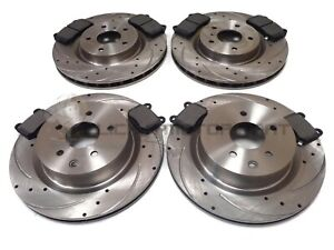 FOR NISSAN 350Z 3.5 V6 FRONT & REAR DRILLED GROOVED BRAKE DISCS AND MINTEX PADS