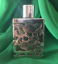 Vintage Mexico Sterling Silver 925 Overlay Glass Square Perfume Bottle 83 gram