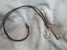 Mens ANTIQUE SKELETON KEY & SILVER TONE ANCHOR on LEATHER CORD Surfer NECKLACE
