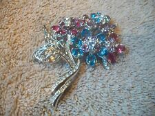 NOLAN MILLER Positively GORGEOUS Pin Brooch Big Silvertone & Swarovski Crystals