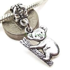 Cute Koala Bear Dangle Charm Large Hole Slider Bead for European Charm Bracelet