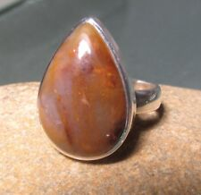 Sterling silver 925 cabochon Pietersite ring UK P-P¼/US 7.75-8. Gift bag.