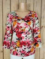ALIA Womens Size Small 3/4 Sleeve Shirt Vneck Studded Abstract Floral Print Top
