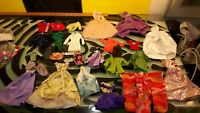 Doll Clothing Barbie Tops Dresses Purses Shoes Hangers Good Condition