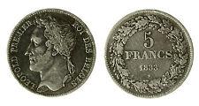pcc1840_94) BELGIO - Leopoldo I (1831-1865) - 5 Franchi - 1833 - AG