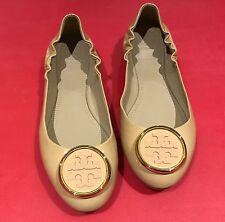 Tory Burch Twiggie Patent Leather Ballet Flats Nude Beige Light Oak reva 7.5