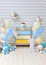 BABY FIRST BIRTHDAY BLUE YELLOW GREY VINYL BACKDROP PHOTO PROP 5X7FT 150x220CM