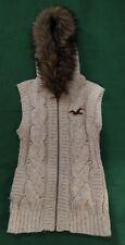 Hollister Ladies Sleeveless Hooded Knitted Cardigan Size XS With Faux Fur Hood
