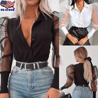 US Women Fashion Lace Mesh Sheer See-through Long Puff Sleeve Tops Blouse Shirts