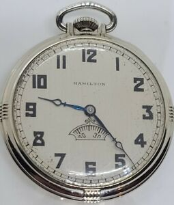 1936 HAMILTON 912 Art Deco 14K G.F. 17J Pocket Watch w/Rotating Seconds Sub Dial